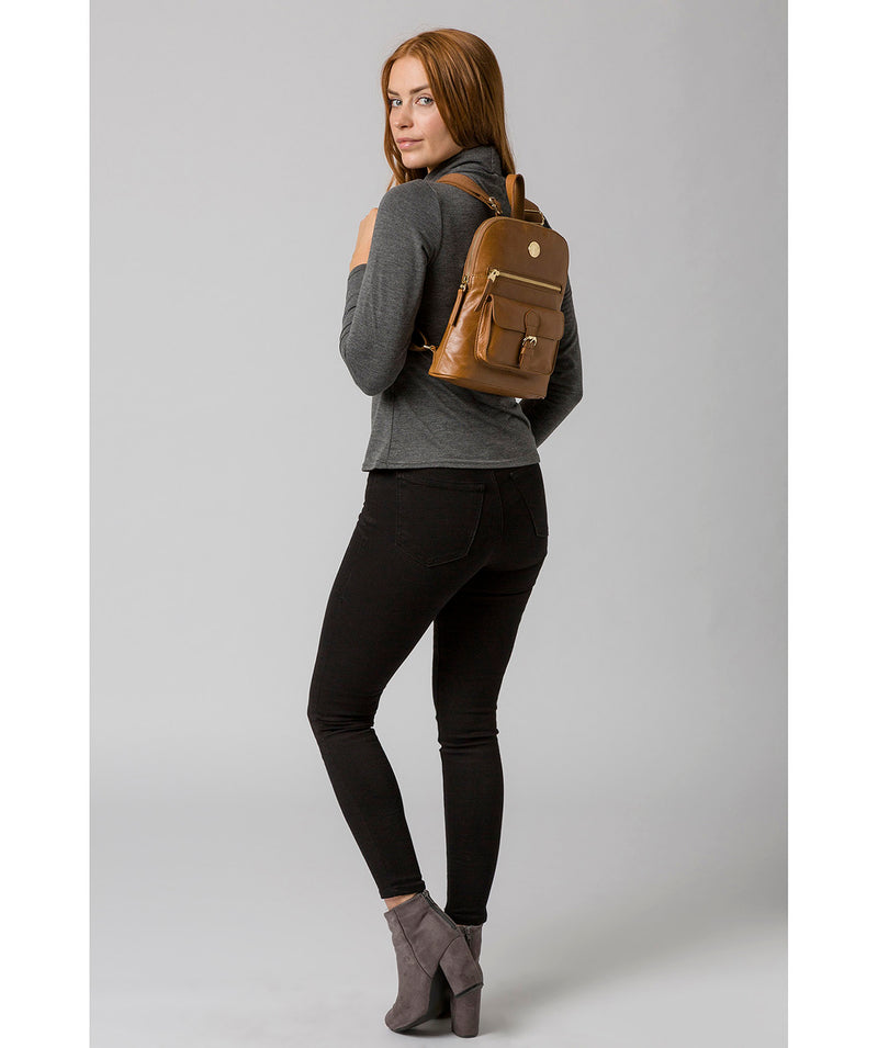 'Zinnia' Saddle Tan Leather Backpack image 2