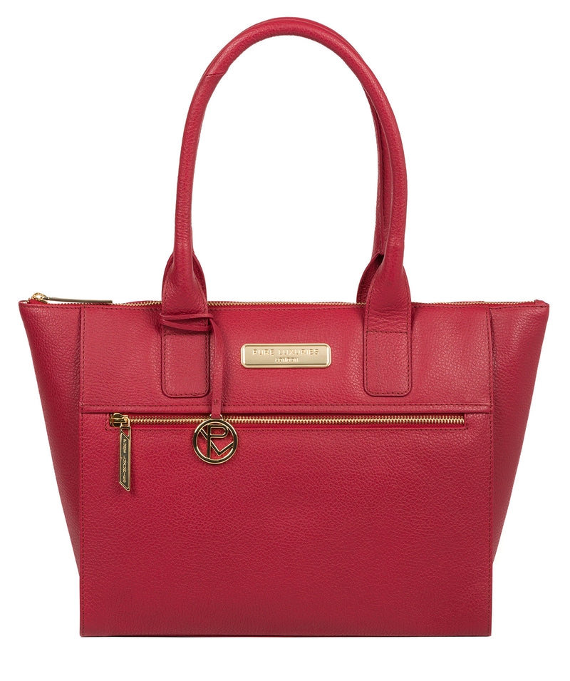 'Faye' Berry Red Leather Tote Bag image 1