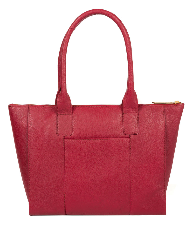 'Faye' Berry Red Leather Tote Bag image 3
