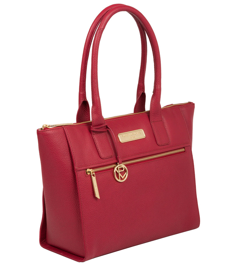 'Faye' Berry Red Leather Tote Bag image 5