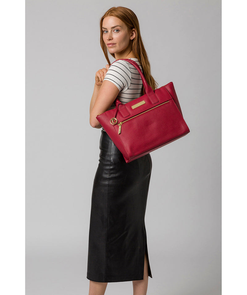 'Faye' Berry Red Leather Tote Bag image 7