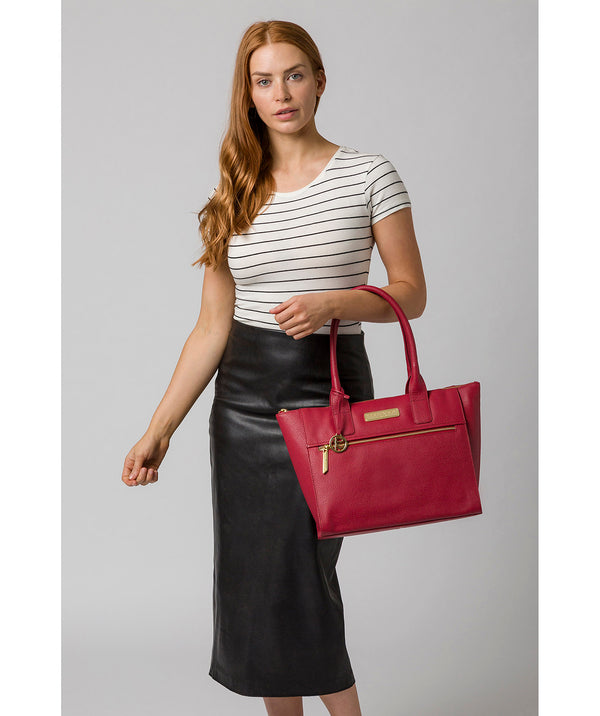 'Faye' Berry Red Leather Tote Bag image 2