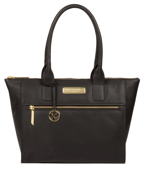 'Faye' Black Leather Tote Bag image 1