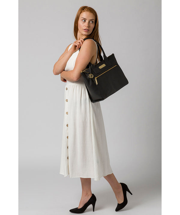 'Faye' Black Leather Tote Bag image 2