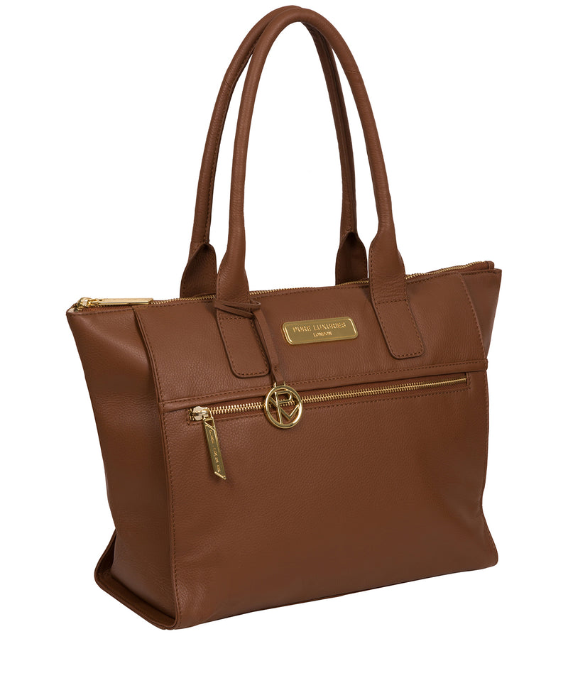 'Faye' Tan Leather Tote Bag Pure Luxuries London