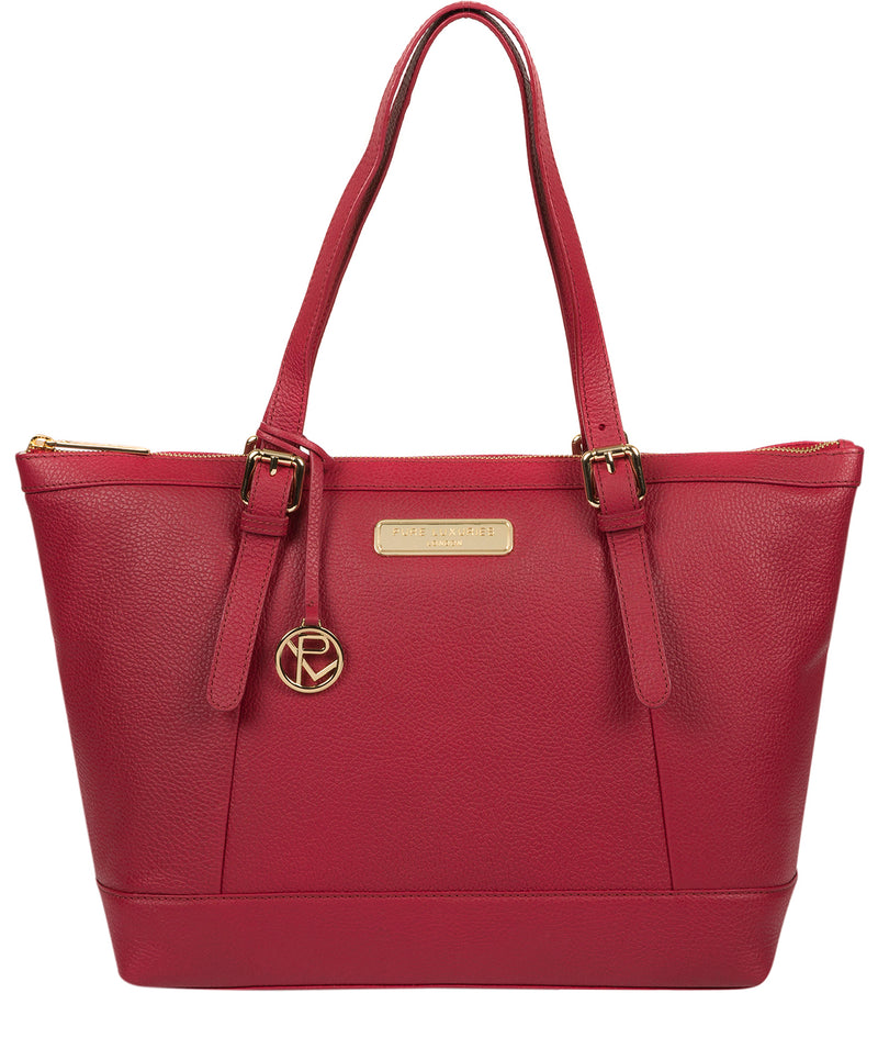 'Emily' Berry Red Leather Tote Bag image 1