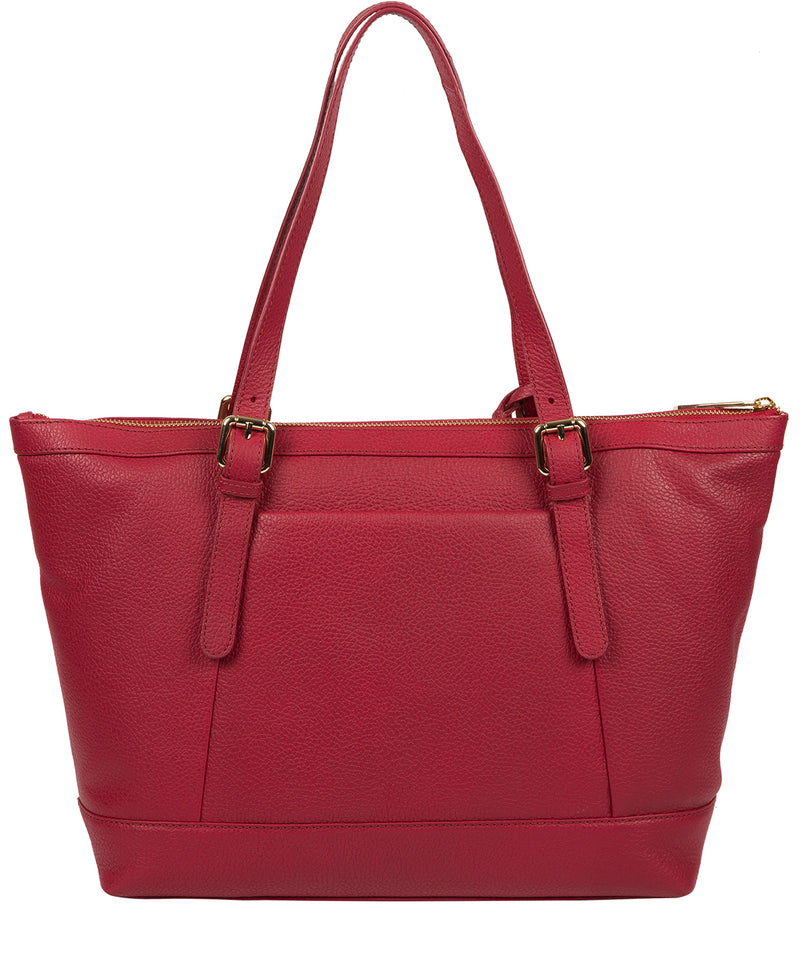 'Emily' Berry Red Leather Tote Bag image 3