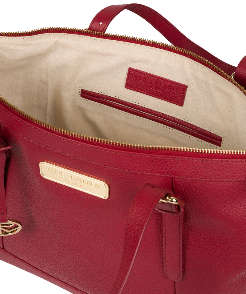 'Emily' Berry Red Leather Tote Bag image 4
