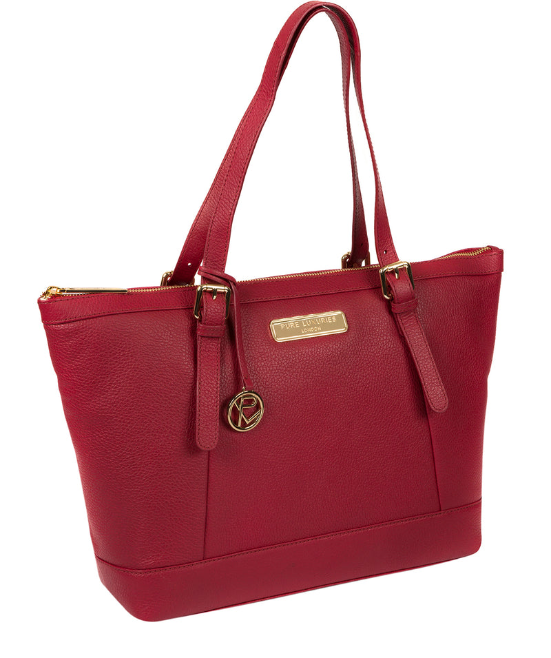 'Emily' Berry Red Leather Tote Bag image 5