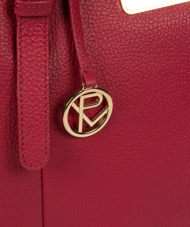 'Emily' Berry Red Leather Tote Bag image 6