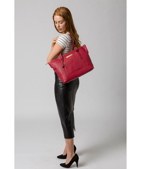 'Emily' Berry Red Leather Tote Bag image 2