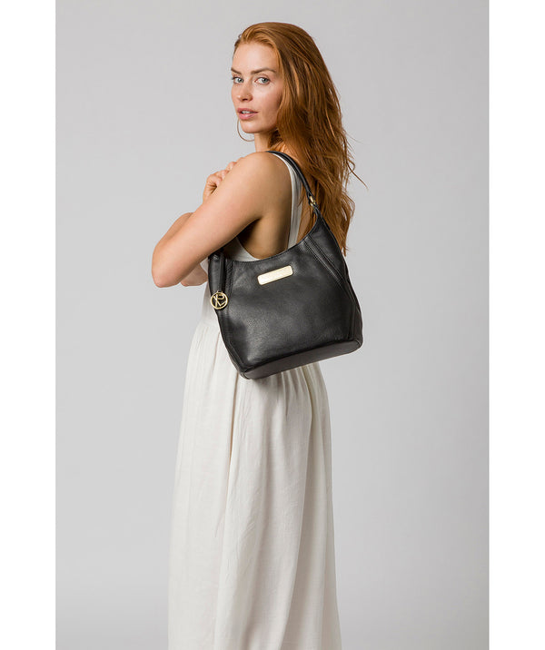 'Abigail' Black Leather Shoulder Bag image 2