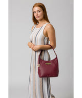 'Abigail' Pomergranate Leather Shoulder Bag image 7