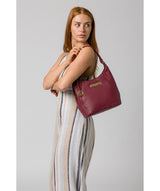 'Abigail' Pomergranate Leather Shoulder Bag image 2