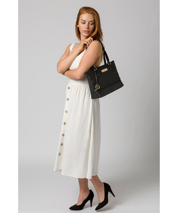'Keira' Black Leather Tote Bag image 2