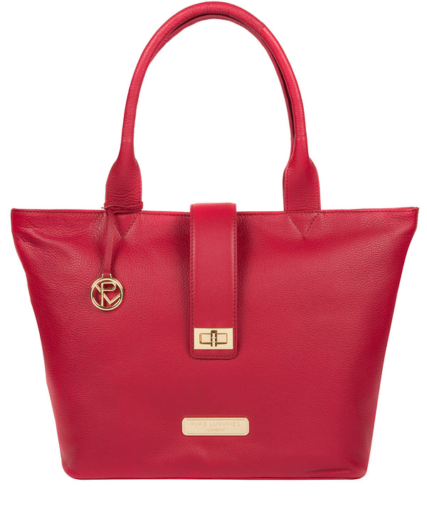 'Annabelle' Berry Red Leather Tote Bag image 1