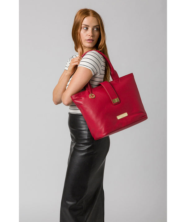 'Annabelle' Berry Red Leather Tote Bag image 2