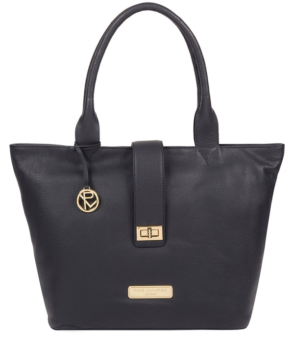 'Annabelle' Navy Leather Tote Bag image 1