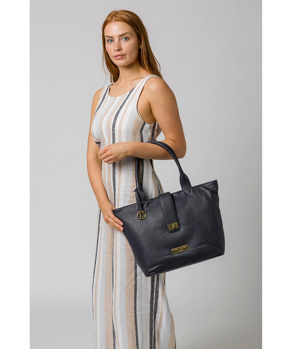 'Annabelle' Navy Leather Tote Bag image 2