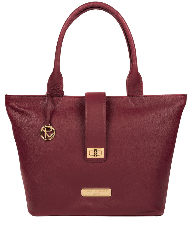 'Annabelle' Pomegranate Leather Tote Bag image 1