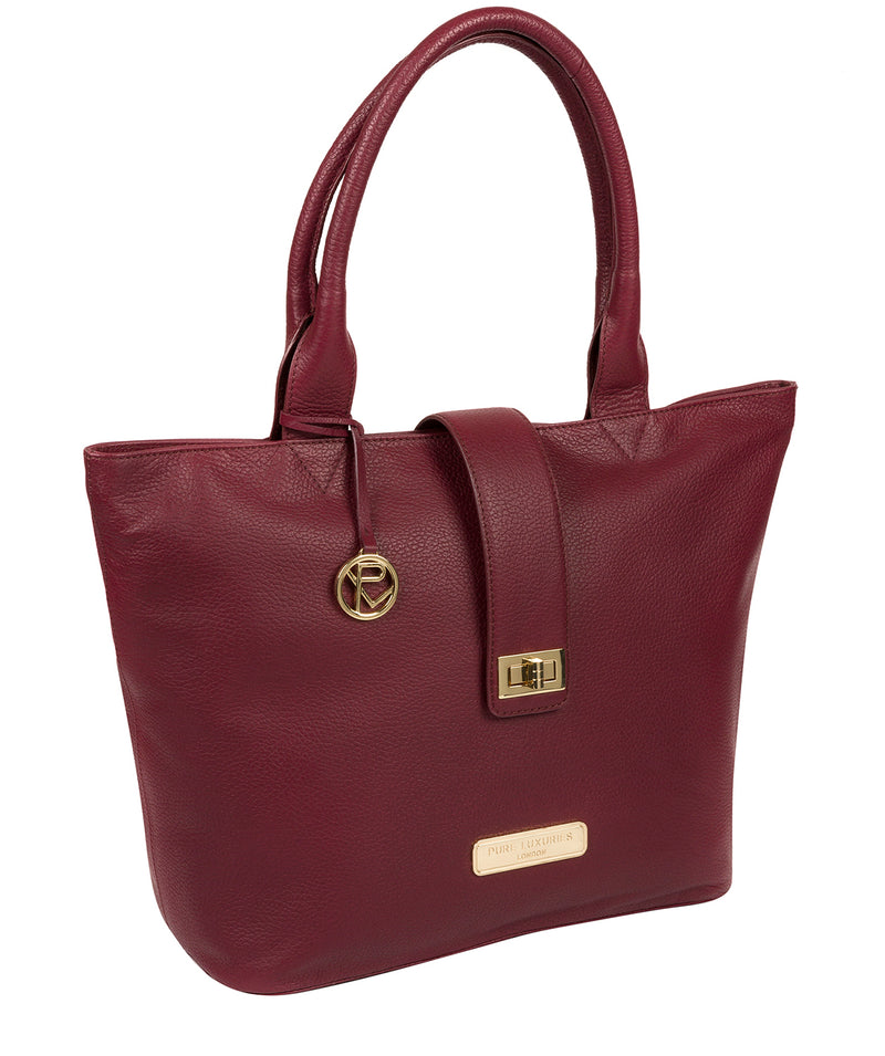 'Annabelle' Pomegranate Leather Tote Bag image 5