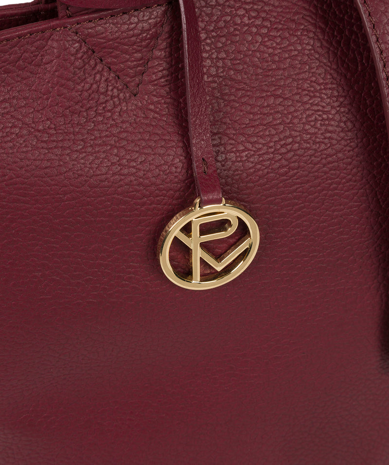 'Annabelle' Pomegranate Leather Tote Bag image 6