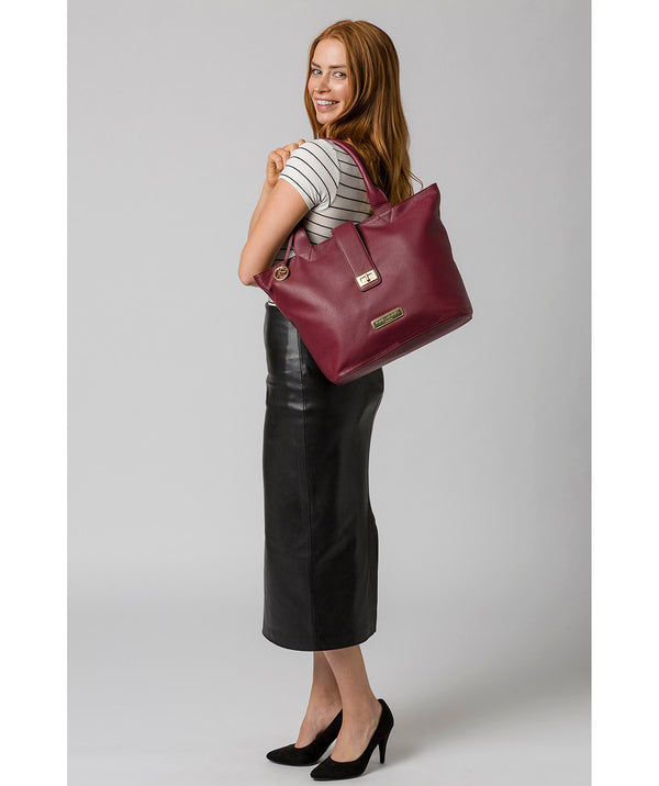 'Annabelle' Pomegranate Leather Tote Bag image 2