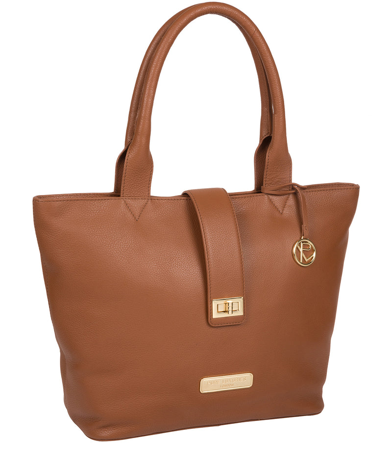 'Annabelle' Tan Leather Tote Bag image 5