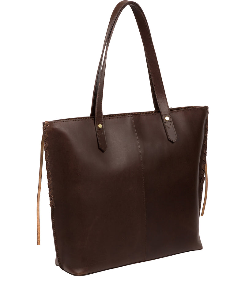 'Hampstead' Chocolate Leather Tote Bag image 3