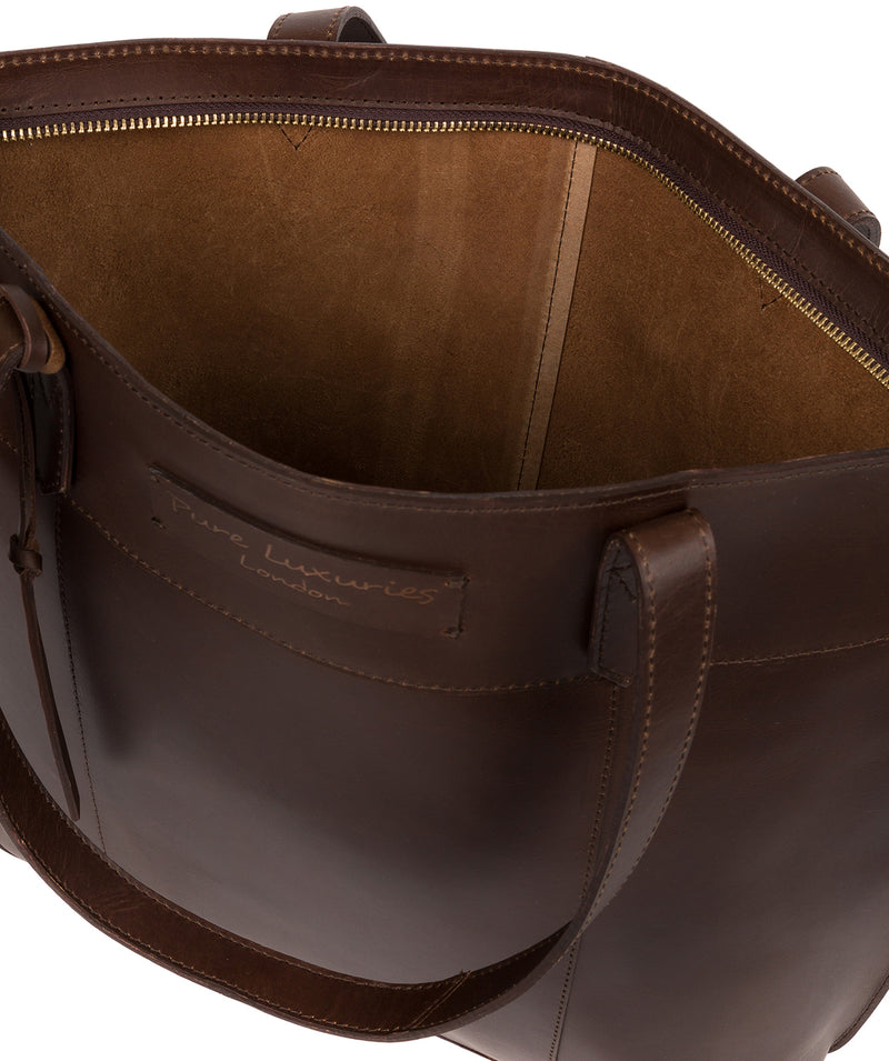 'Hampstead' Chocolate Leather Tote Bag image 4