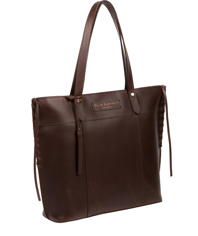 'Hampstead' Chocolate Leather Tote Bag image 5