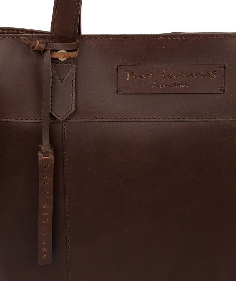'Hampstead' Chocolate Leather Tote Bag image 6