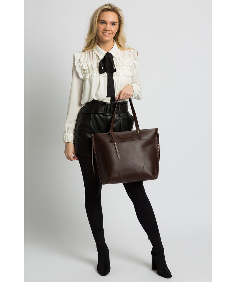 'Hampstead' Chocolate Leather Tote Bag image 2