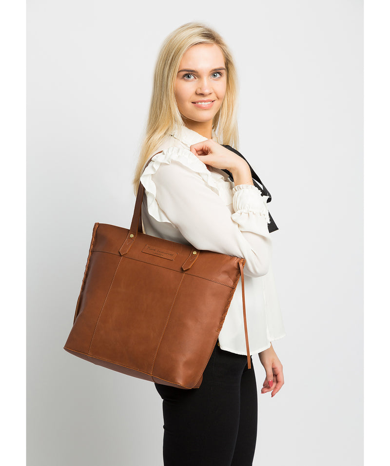 'Hampstead' Cognac Leather Tote Bag image 2