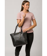 'Hampstead' Jet Black Leather Tote Bag image 2