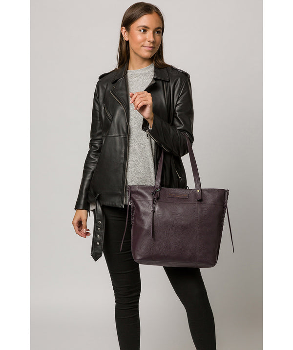 'Hampstead' Plum Leather Tote Bag image 2