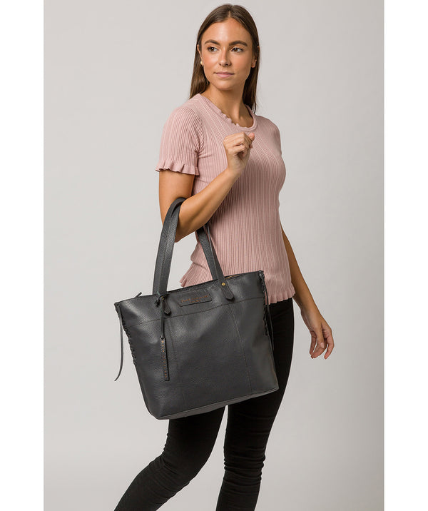 'Hampstead' Slate Leather Tote Bag image 2