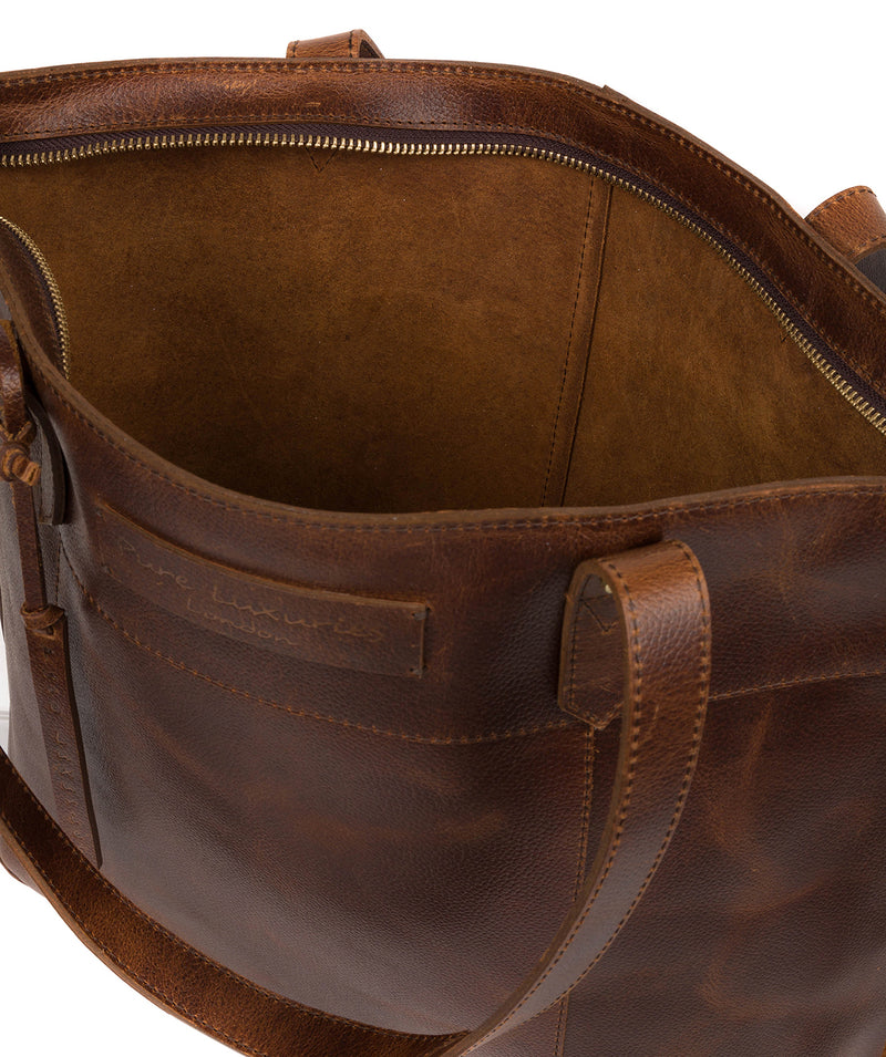 'Hampstead' Vintage Brown Leather Tote Bag image 4