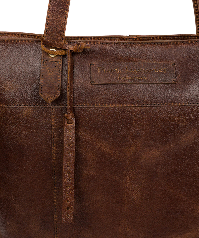 'Hampstead' Vintage Brown Leather Tote Bag image 6