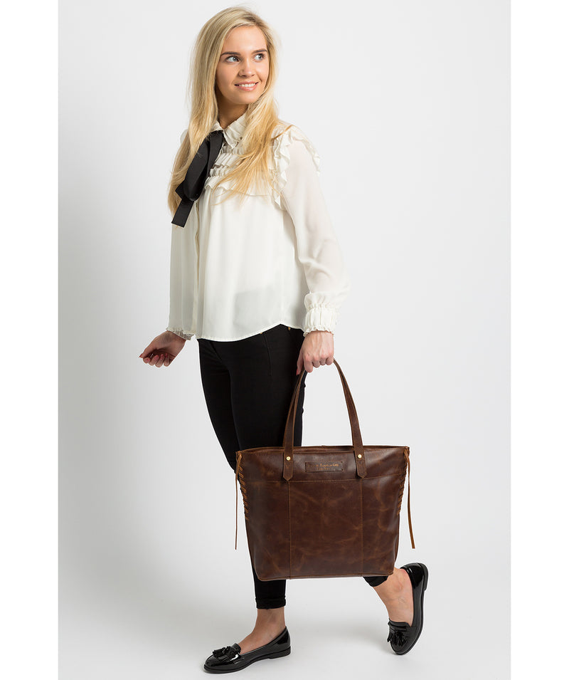 'Hampstead' Vintage Brown Leather Tote Bag image 2