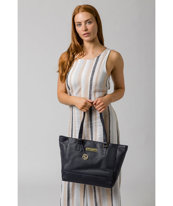 'Sophie' Navy Leather Tote Bag image 2