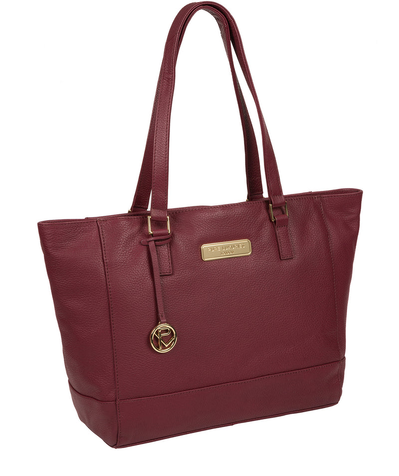 'Sophie' Pomegranate Leather Tote Bag image 5