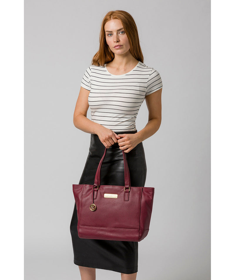 'Sophie' Pomegranate Leather Tote Bag image 2