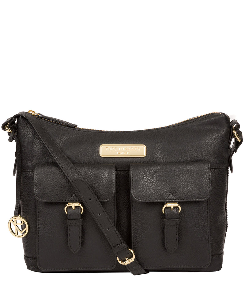 'Jenna' Black Leather Shoulder Bag image 1