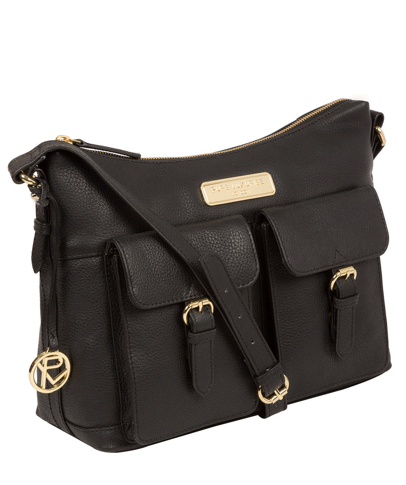 'Jenna' Black Leather Shoulder Bag image 5