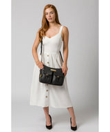 'Jenna' Black Leather Shoulder Bag image 2
