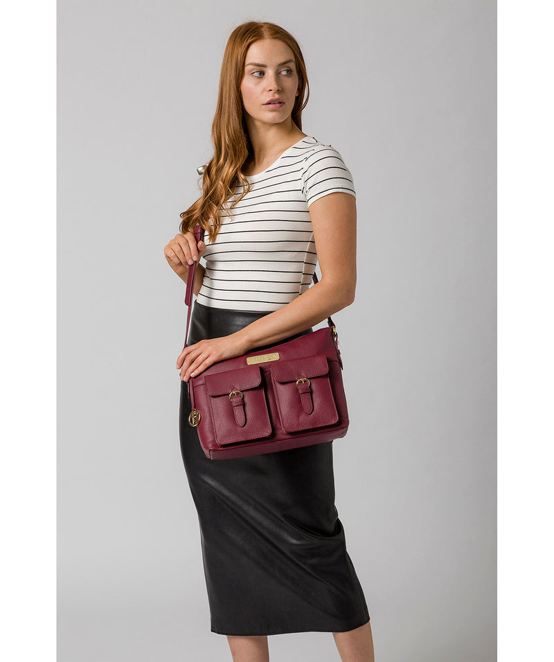 'Jenna' Pomegranate Leather Shoulder Bag image 2