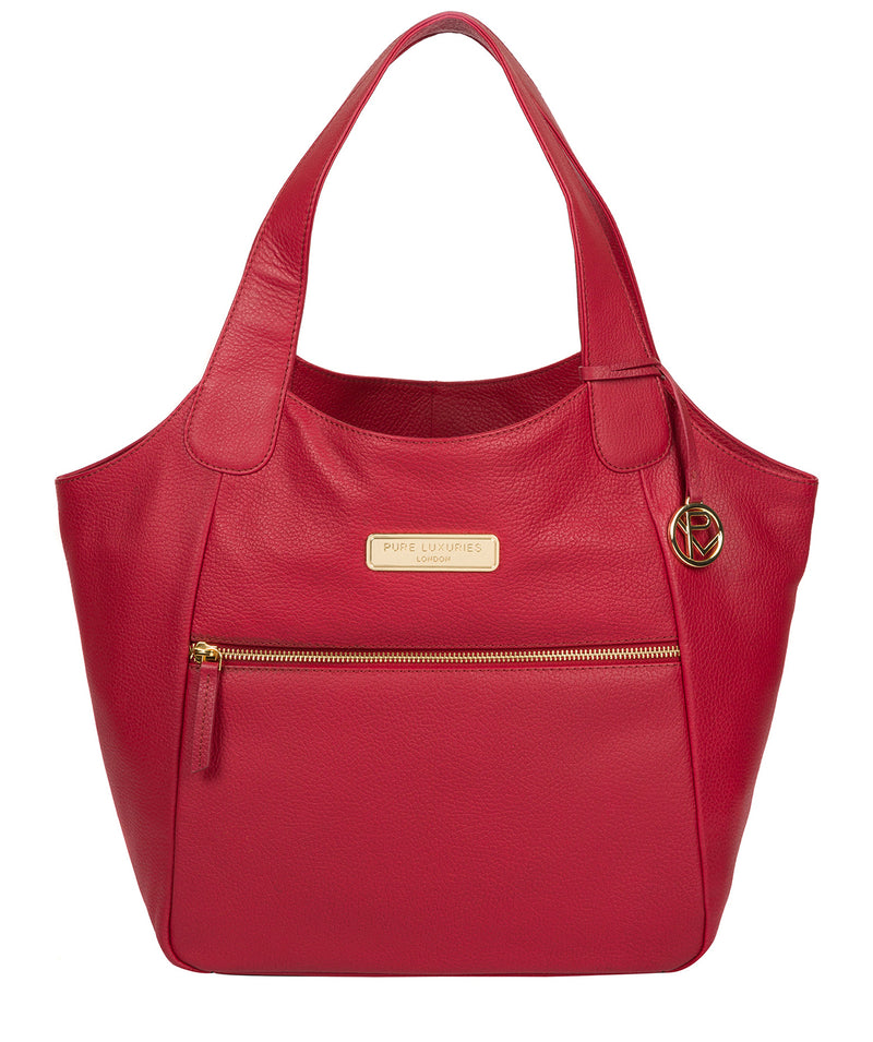 'Roxanne' Berry Red Leather Tote Bag image 1