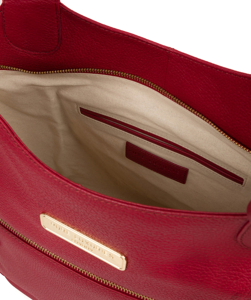 'Roxanne' Berry Red Leather Tote Bag image 4