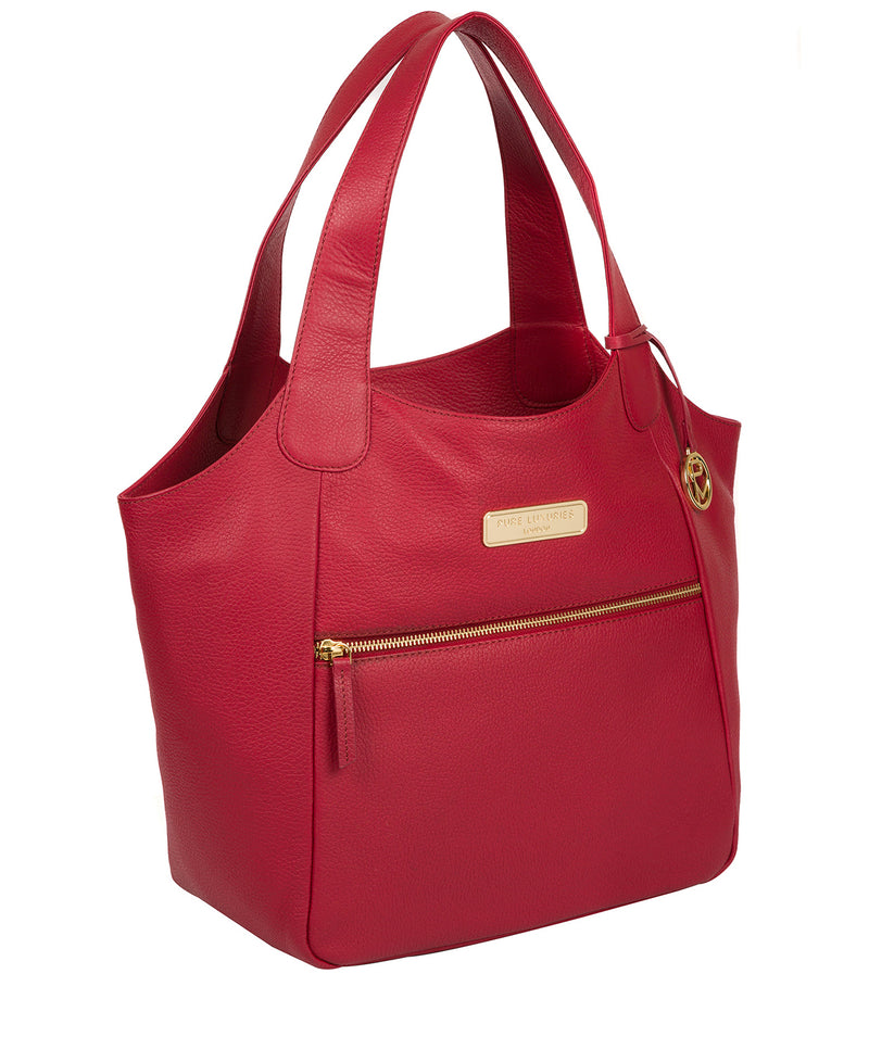 'Roxanne' Berry Red Leather Tote Bag image 5